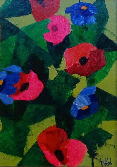 Blue & Red Poppies